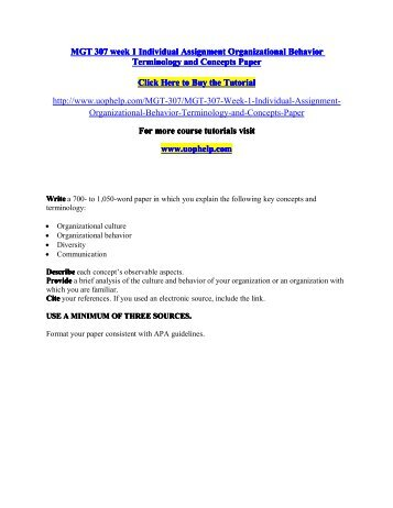 term paper for organizational behavior
