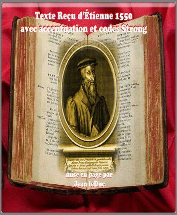 Textes Reçu d'Étienne 1550 avec codes Strong
