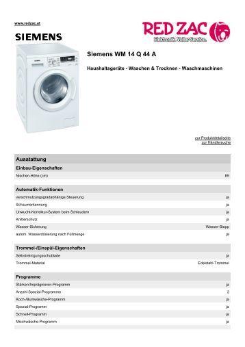 Produktdatenblatt Siemens WM 14 Q 44 A - Red Zac