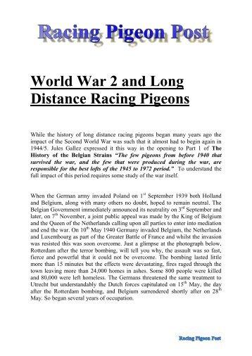 World War 2 and Long Distance Racing Pigeons