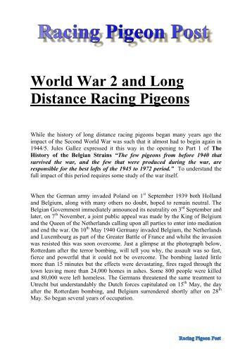 World War 2 and Long Distance Racing Pigeons