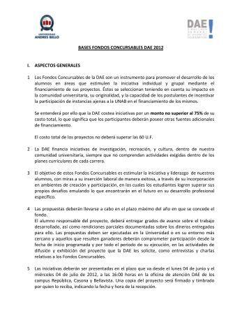 Bases de los Fondos Concursables DAE 2012.