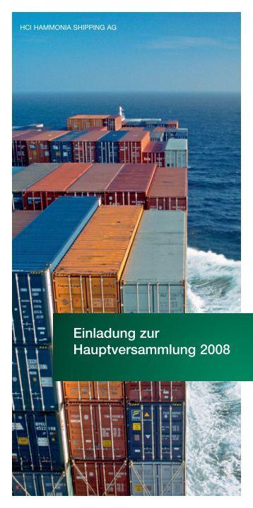 Einladung zur Hauptversammlung 2008 - hci hammonia shipping ag