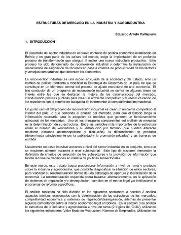 Estructuras De Mercado En La Industria Y Agroindustria - Unidad de ...