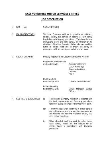 Pitch cleaner driver job description jct600 for Motor coach driving jobs