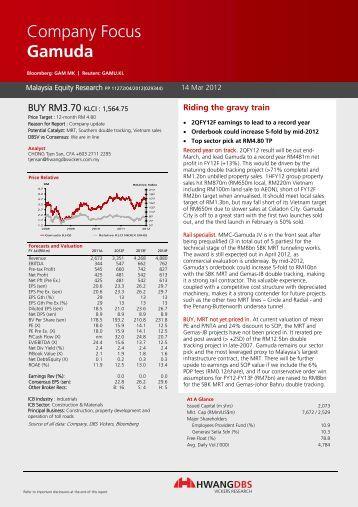 Riding the gravy train - Gamuda Berhad - Investor Relations