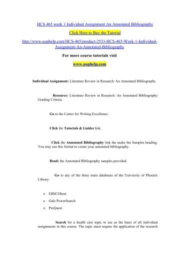 literature review in research an annotated bibliography hcs 465