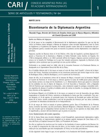 Bicentenario de la Diplomacia Argentina - Consejo Argentino para ...