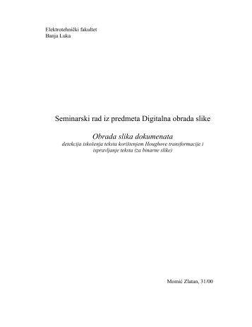 Seminarski rad iz predmeta Digitalna obrada slike Obrada slika dokumenata
