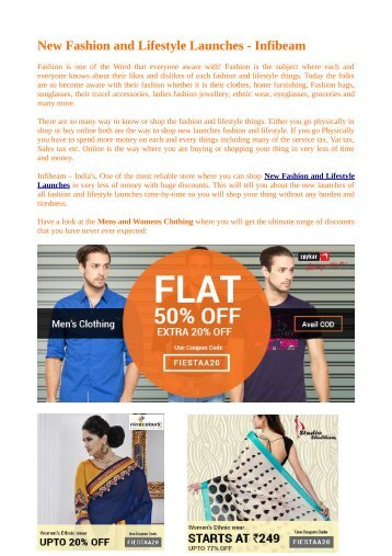 Fashion & Lifestyle Launches at Infibeam.com