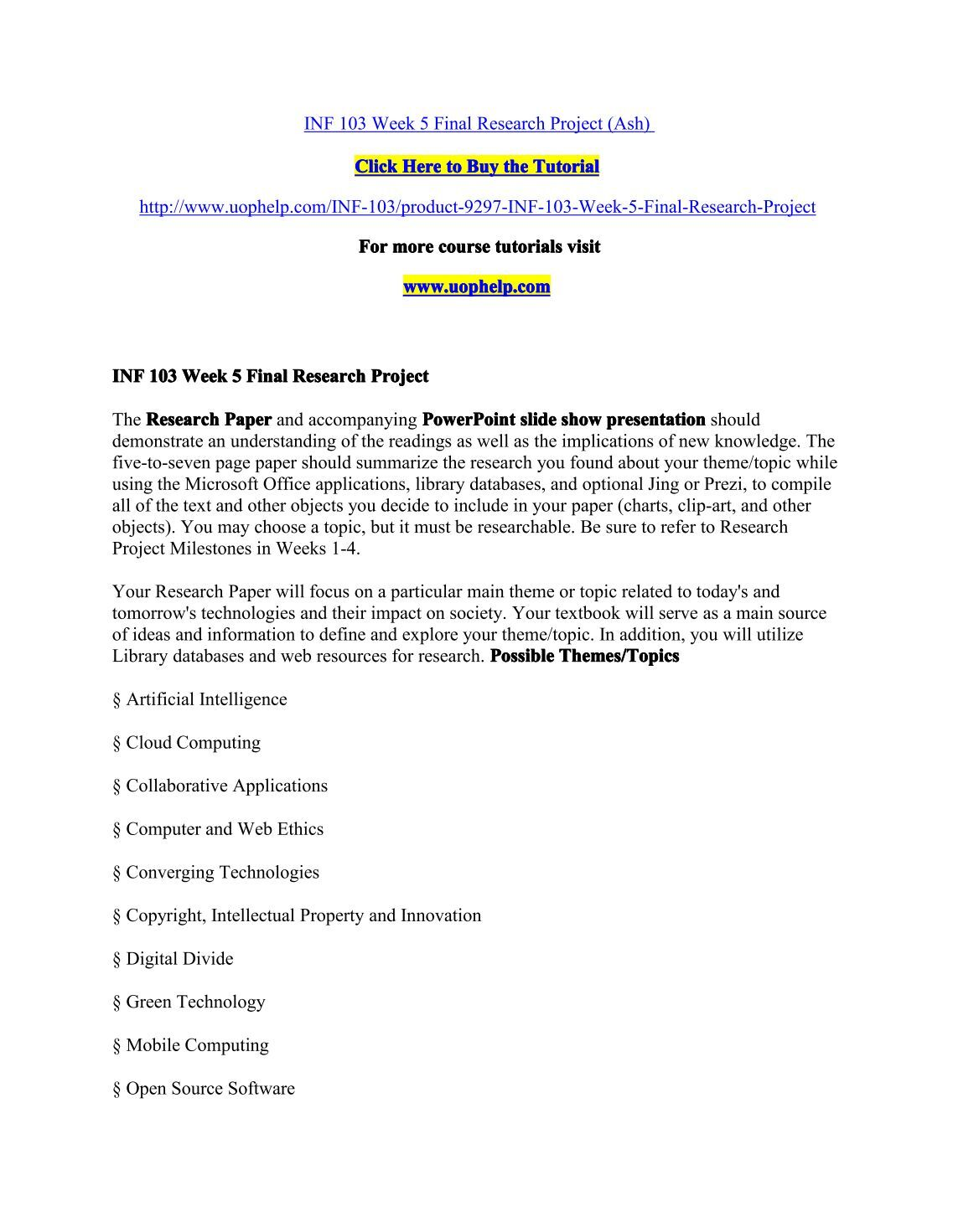 inf 103 week 5 research paper on social web Inf 103 social web essays and research papers the social web is a set of social relationships through inf 103 week 4 assignment in what ways should.