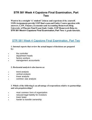 str 581 final exams essay Looking for wonderful online courses of the best phoenix university if yes, enrolled here and get big discount on these exams,str 581 final exam part 2 learning assignments, str 581 capstone final exam part 2 questions & answers and str 581 final exam part 2 latest solved papers available on uop students.