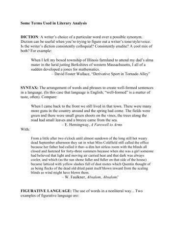 Literary analysis diction