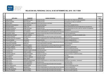 RELACION DEL PERSONAL CAS AL 30 DE SETIEMBRE DEL 2010 - RO Y RDR