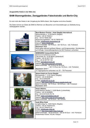 Ausgewählte Hotels in der Nähe der BAM - PTB
