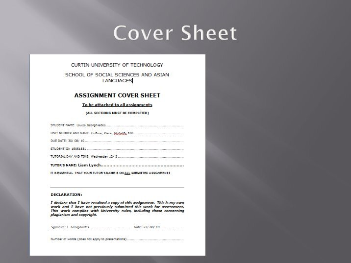 Curtin Engineering Assignment Cover Sheet