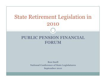 Federal and State Legislative Updates - Public Pension Financial ...