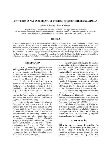 CONTRIBUCIÓN AL CONOCIMIENTO DE LOS HONGOS ...