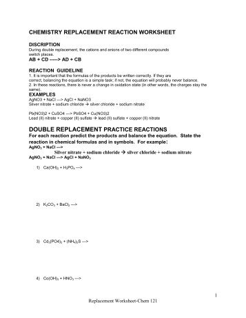 Printables Single Replacement Reaction Worksheet Answers worksheet 4 single replacement reactions imperialdesignstudio displacement or pc
