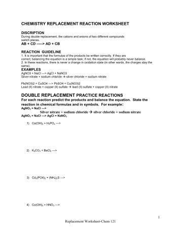 Single Replacement Reaction Worksheet Answers - Delibertad