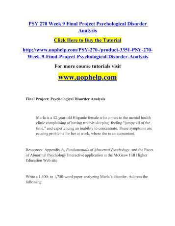 final project analyzing psychological disorders essays