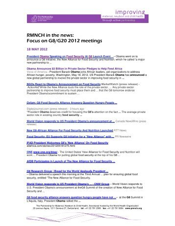 RMNCH in the news: Focus on G8/G20 2012 meetings