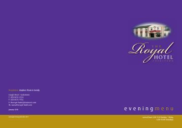 evening menu - The Royal Hotel