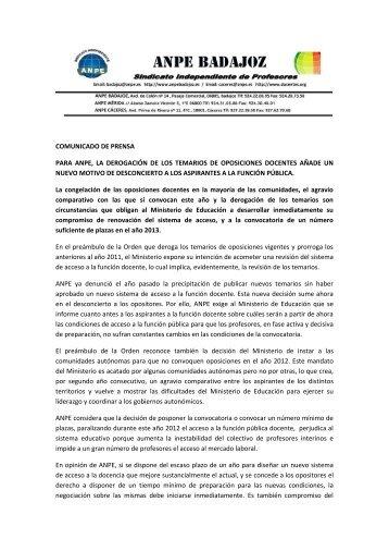 COMUNICADO DE PRENSA PARA ANPE, LA ... - ANPE BADAJOZ