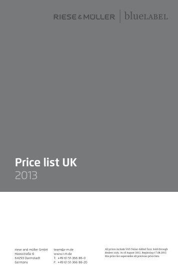 Price list UK 2013 - Riese und Müller