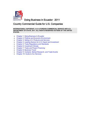 Doing Business in Ecuador: 2011 Country Commercial ... - Export.gov