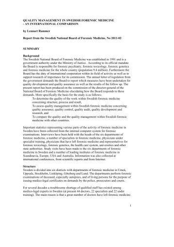 QUALITY MANAGEMENT IN SWEDISH FORENSIC MEDICINE