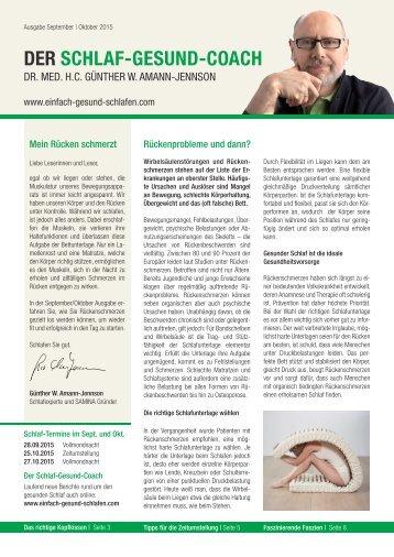 DER SCHLAF-GESUND-COACH | Ausgabe September, Oktober