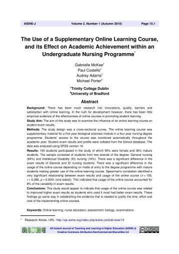 The Use of a Supplementary Online Learning Course ... - AISHE-J