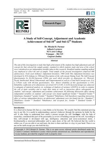 self concept and academic performance A third possible explanation for our findings is that although a relationship exists between self-reflection and academic performance, this is not reflected as an improvement in students' classroom performance and knowledge test grades.