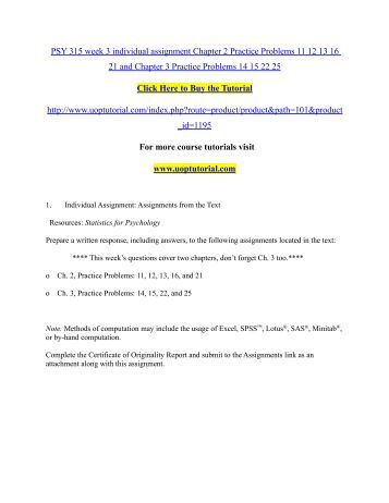 assignment 2 problems for chapter 11