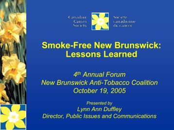 SmokeFree New Brunswick Lessons Learned