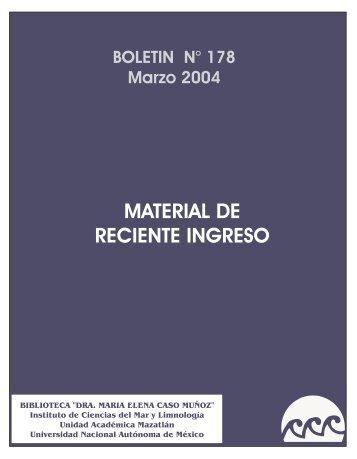 material de reciente ingreso - Instituto de Ciencias del Mar y ...