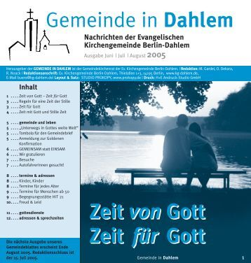 Juli   August 2005 - Ev. Kirchengemeinde Berlin-Dahlem