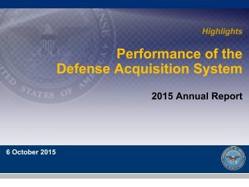 Performance of the Defense Acquisition System