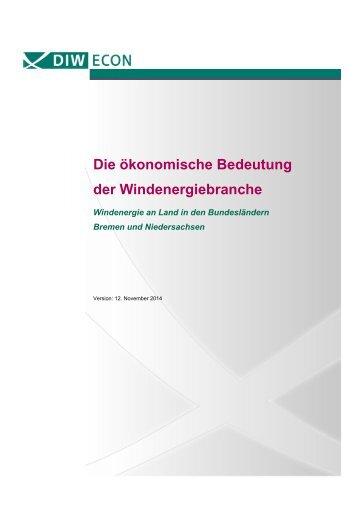 Die ökonomische Bedeutung der Windenergiebranche in Niedersachsen und Bremen