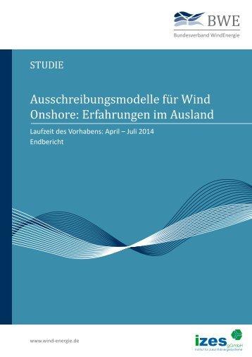 Ausschreibungsmodelle für Wind Onshore: Erfahrungen im Ausland