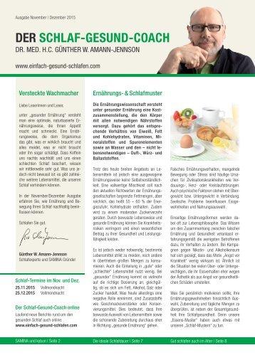 DER SCHLAF-GESUND-COACH | Ausgabe November, Dezember