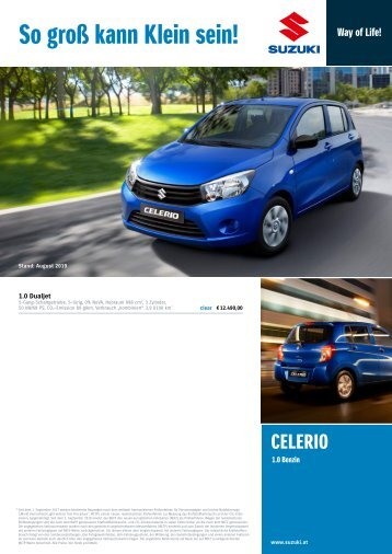 CELERIO Preis, Ausstattung und technische Daten