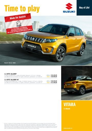 VITARA Preise, Ausstattung und technische Daten