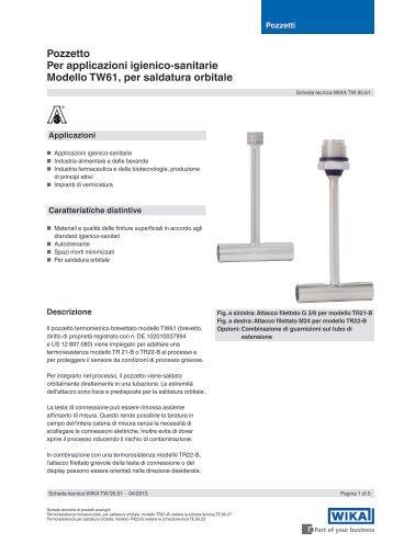 Pozzetto Per applicazioni igienico-sanitarie Modello TW61 per saldatura orbitale