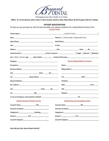 Patient Registration Form Patient Registration Form Template For