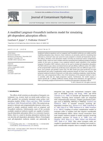 A modified Langmuir-Freundlich isotherm model ... - Auburn University