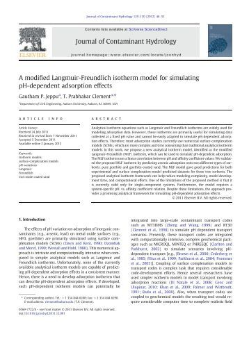 A modified Langmuir-Freundlich isotherm model ... - Auburn University