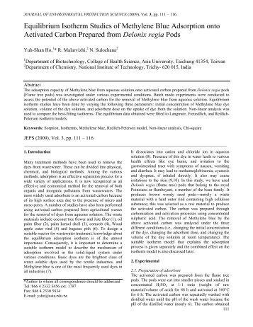 Equilibrium Isotherm Studies of Methylene Blue Adsorption onto ...