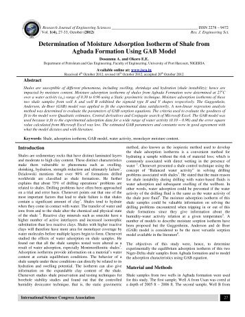 Determination of Moisture Adsorption Isotherm of Shale from ...